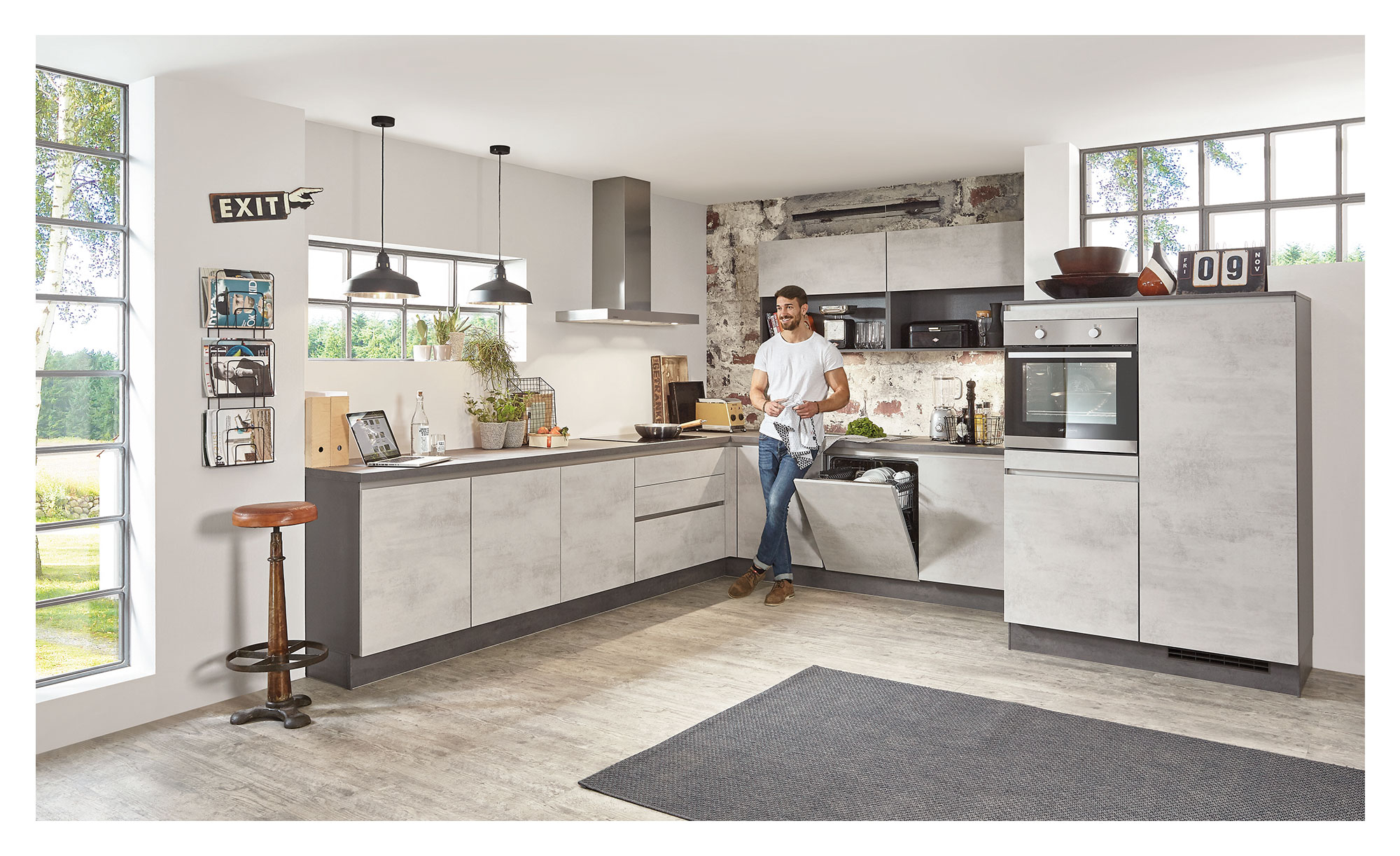 Nobilia RIVA Küche Betongrau